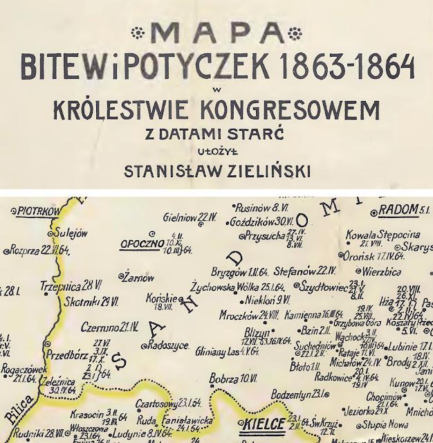 Mapa z książki Stanisława Zielińskiego, Bitwy i potyczki 1863-1864, Rapperswil 1913. W nazwie miejscowości autor popełnił błąd wymieniając miejscowość Stefanów zamiast Stefanków. Udostępnił K. D.