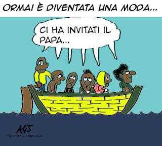 migranti, marino, papa francesco, vignetta satira