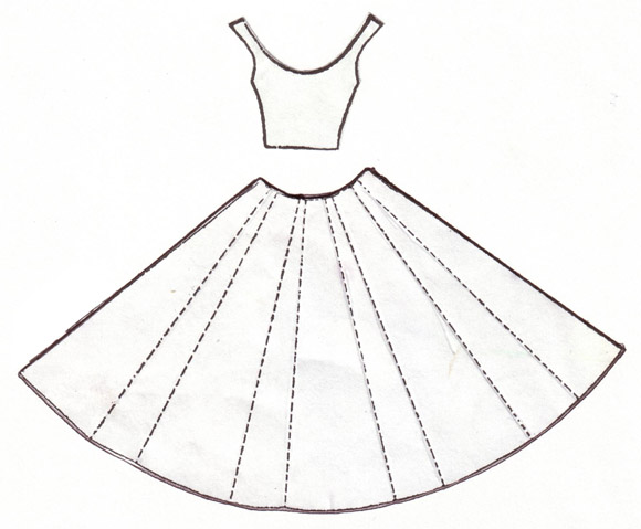 Шаблон платья для коробочки