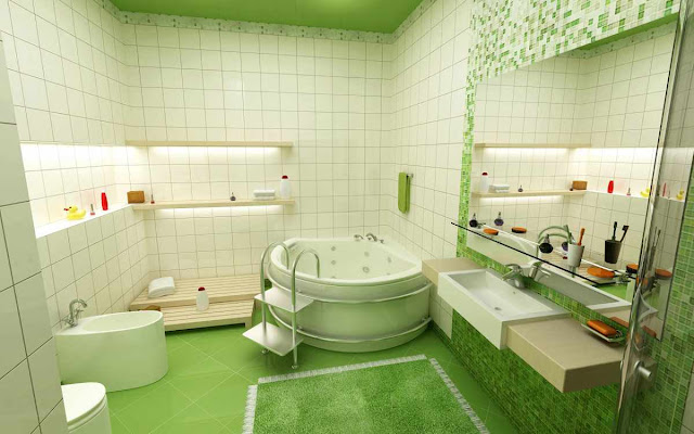 an amazing green ceramic bathroom flooring options combined with clear white wall and unique around bathtub