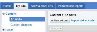 AdSense new ad unit button