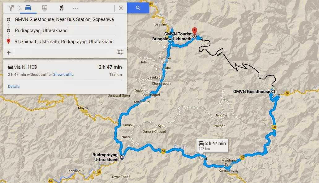 Gopeshwar to Ukhimath route map