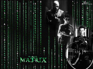 Matrix image featuring Morpheus, Trinity and Neo against coding background