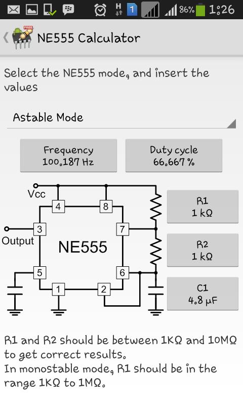 NE555 calculator
