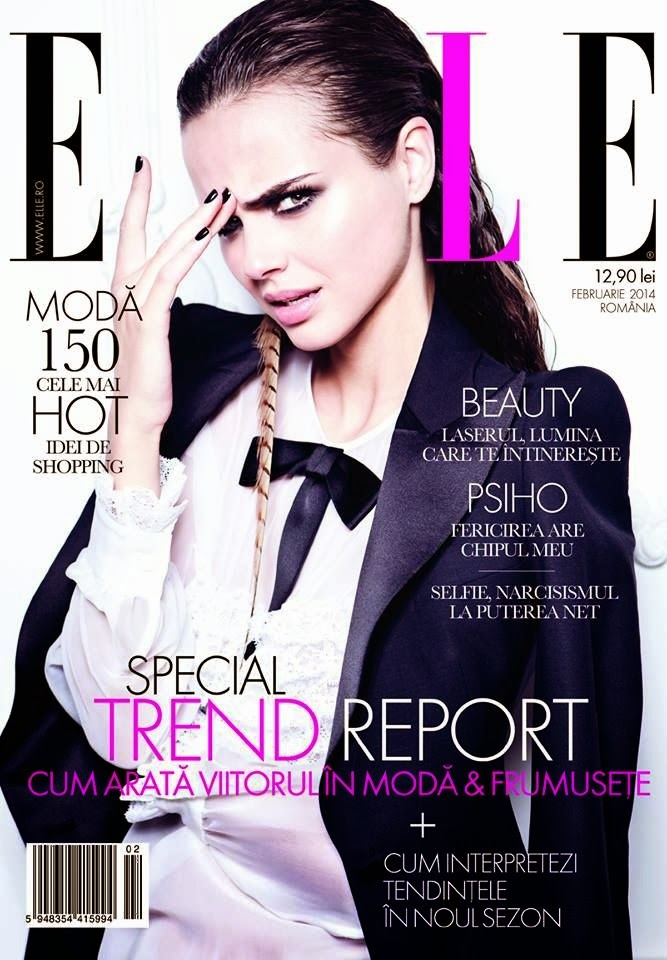 Xenia Deli Elle Romania Magazine Cover February 2014 HQ Scans