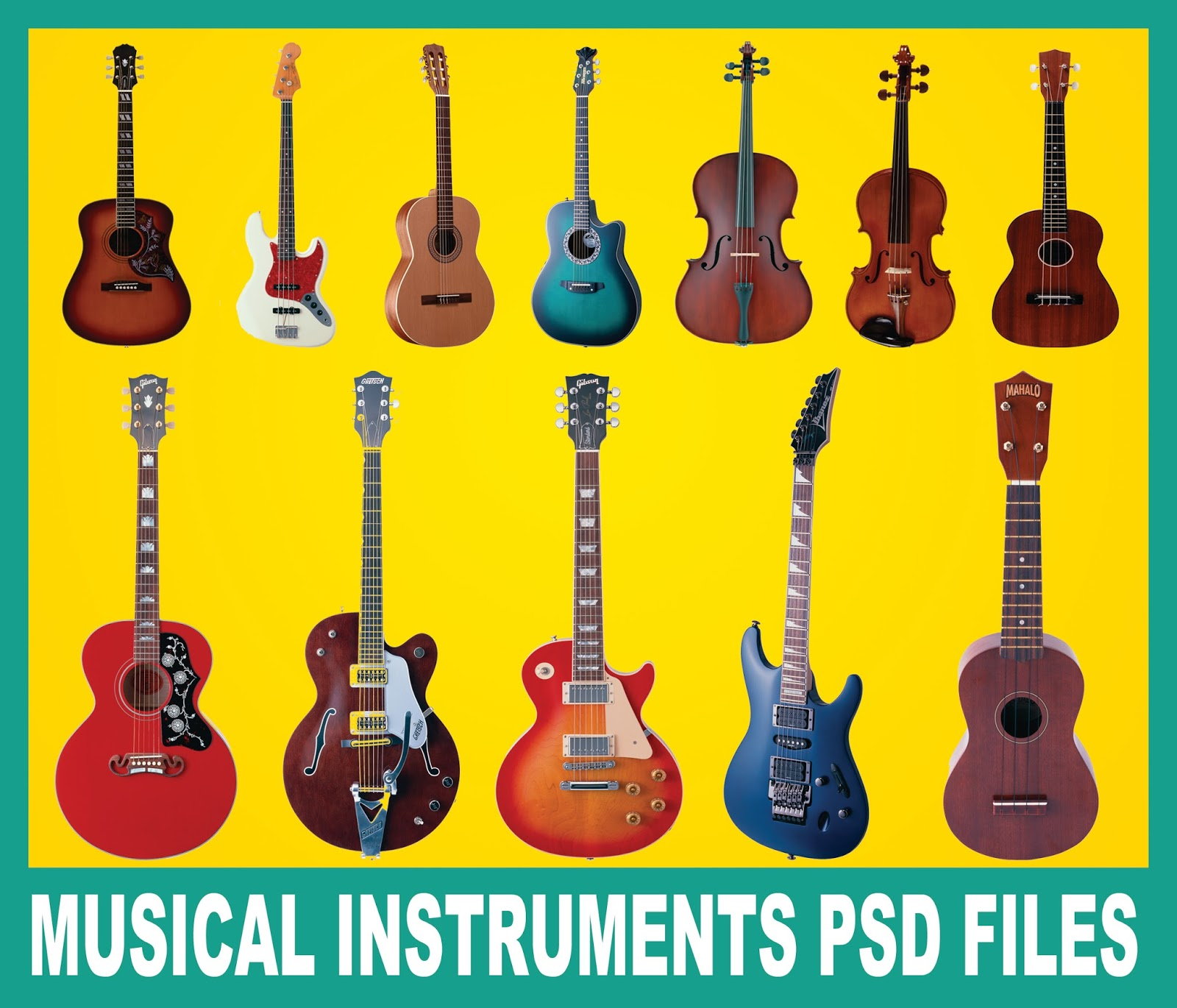 musical instruments psd free download | naveengfx, Powerpoint templates