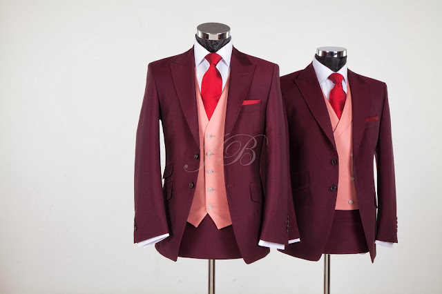 burgundy wedding suit to hire from jack bunneys