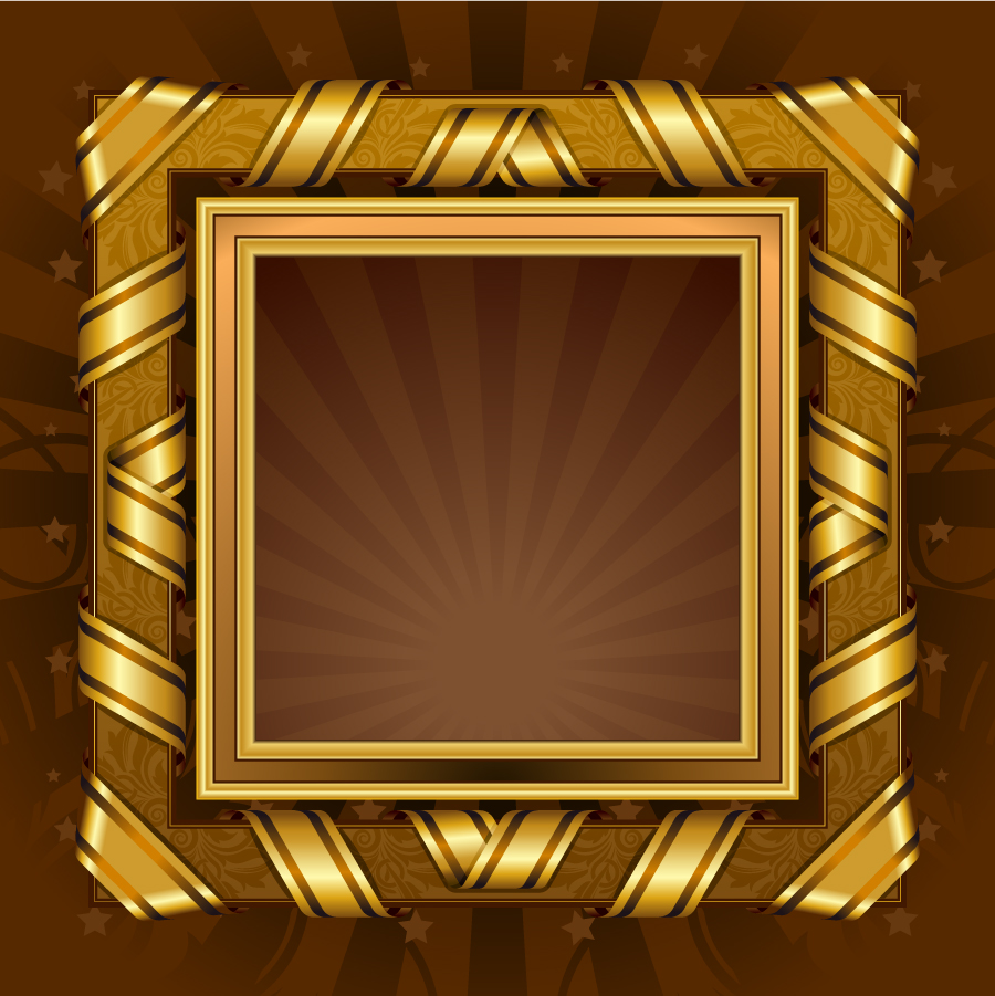 アンティークな金縁の豪華フレーム antique gold frame イラスト素材