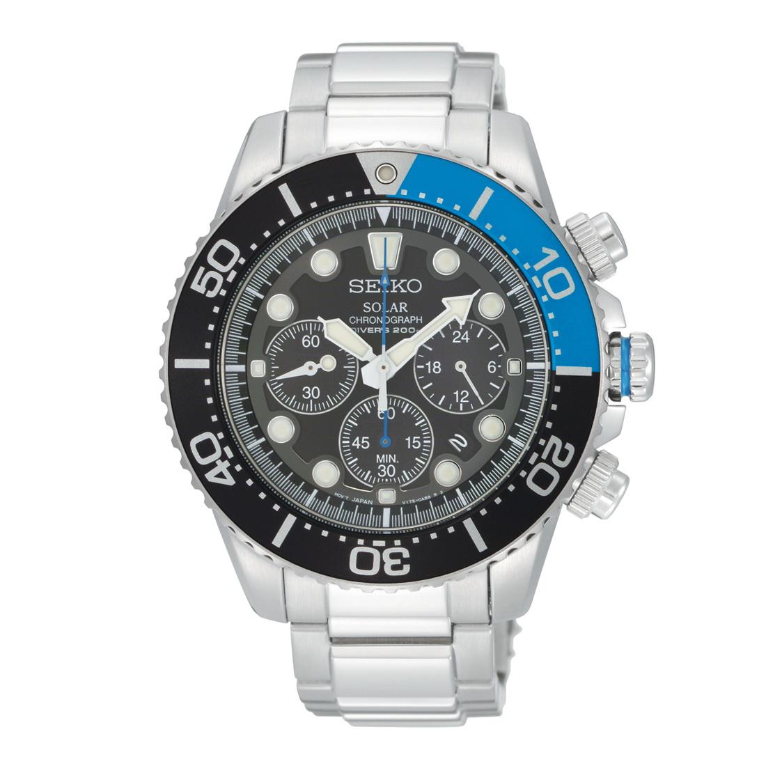 Oceanictime seiko solar chronograph diver ref ssc017p for Seiko solar