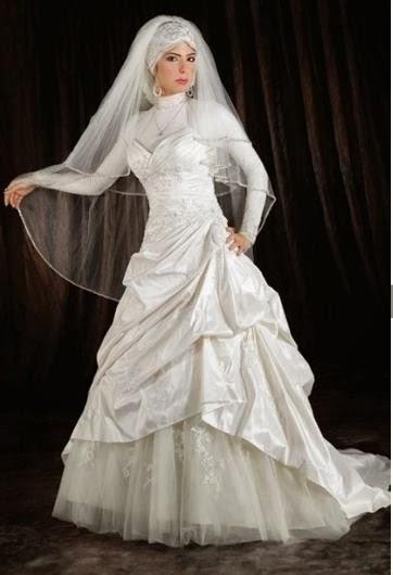 فساتين زفاف للمحجبات 2014 - فساتين زفاف دانتيل 2014 - فساتين زفاف بكم - فساتين زفاف محجبات - فساتين زفاف ناعمة