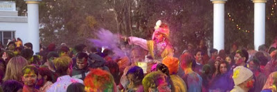 Maharaj Kripalu and devotees celebrate Holi 2013 at Bhakti Dham Hindu ashram and temple