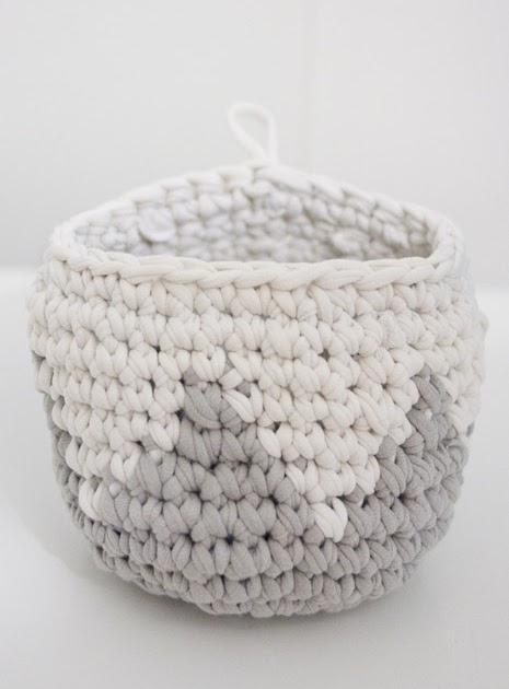 Handmade Basket Tutorial : Crochet handmade t shirt basket pattern