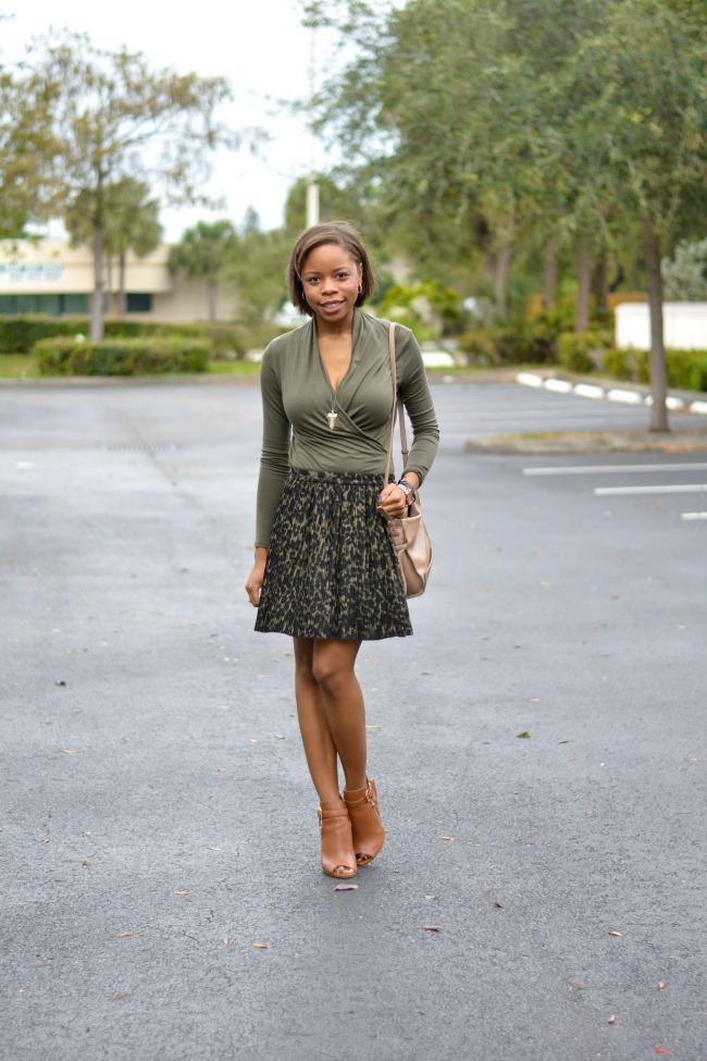 Wrap Shirt + Pleated Skirt