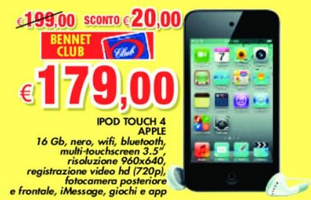 Piccolo sconto sul lettore multimediale iPod touch da parte di Bennet nell'ultimo volantino di Maggio