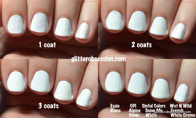 White Polish Comparison Nail Swatch Essie Blanc Maybelline