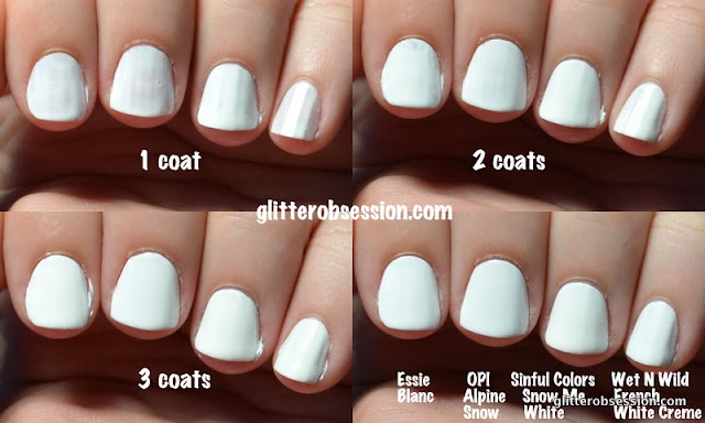 white polish comparison, white nail polish, white nail polish swatch, Essie Blanc Maybelline Porcelain Party Milani White On The Spot NYC French White Tip OPI Alpine Snow Sally Hansen Hard To Get Sally Hansen White On Sinful Colors Snow Me White Wet N Wild French White Creme
