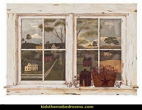 Decorating theme bedrooms maries manor primitive for Country wall mural