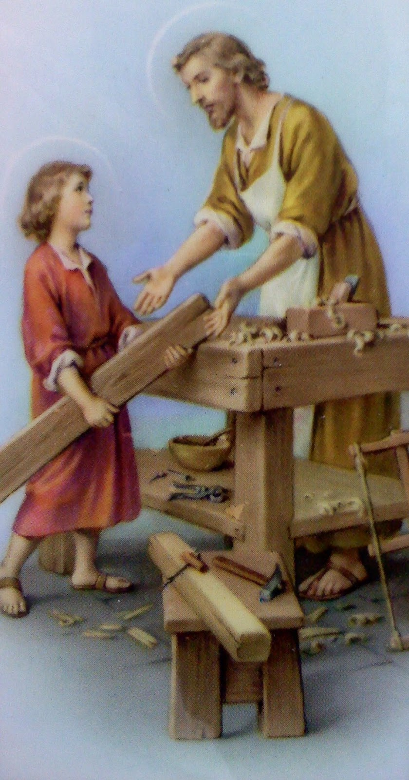 St joseph picture of the carpenter on wood craft catholic inspired - Saint joseph patron des charpentiers ...