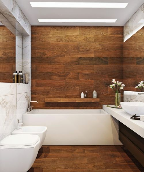 12 banheiros e lavabos com porcelanato que imita madeira for Bathroom designs for small spaces south africa