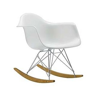 In Style Modern White Molded Plastic Rocker