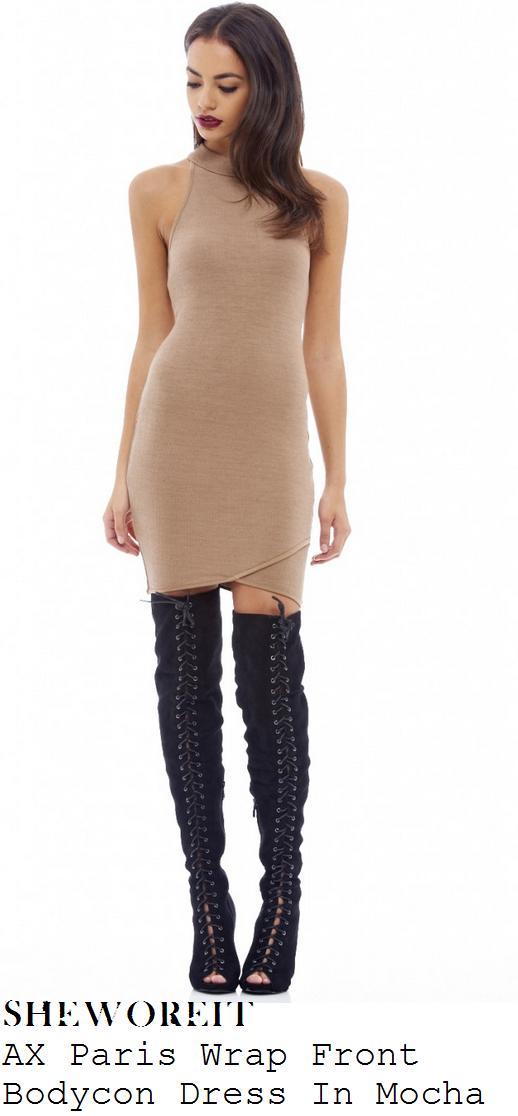 danielle-armstrong-mocha-beige-high-neck-sleeveless-wrap-hem-bodycon-mini-dress