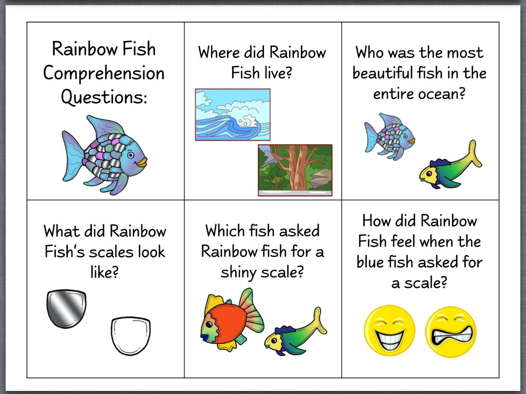 18 explicit and implicit comprehension questions with picture choices
