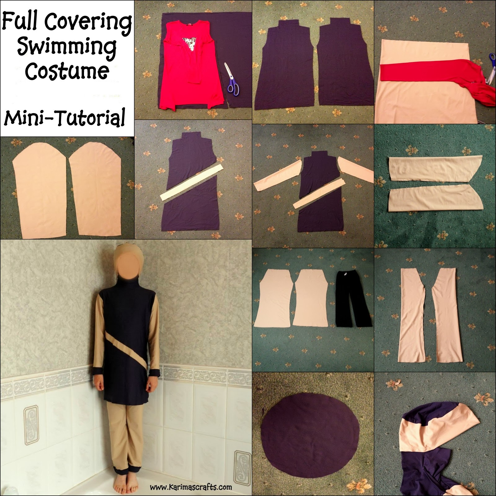 full covering swimming costume burkini muslim tutorial