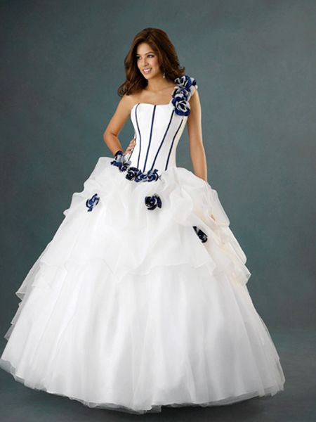 Whiteazalea ball gowns white ball gowns with color accents for White wedding dress with blue accents