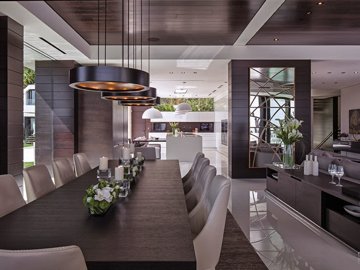 Dark dining table in Perfect modern mansion in Beverly Hills