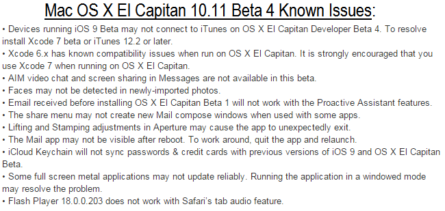 Mac OS X El Capitan 10.11 Beta 4 Known Issues