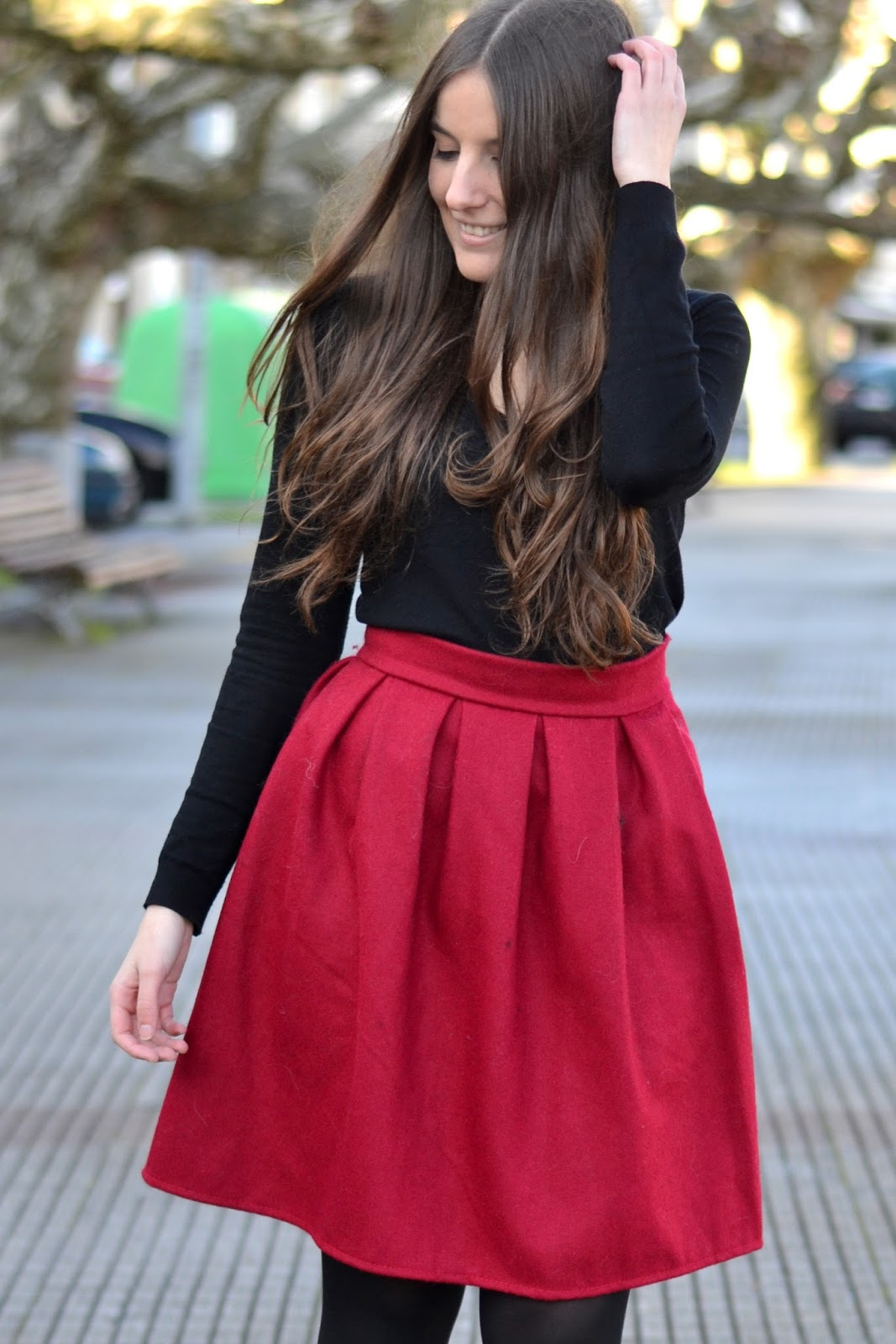 red midi skirt Sheinside