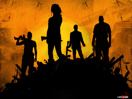 Left4Dead 2 wall paper. Silhouette image of four heros on an unspeakable mound.