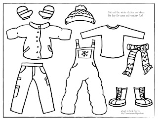 winter clothes coloring page - sarah pecorino illustration printable winter dress up boy
