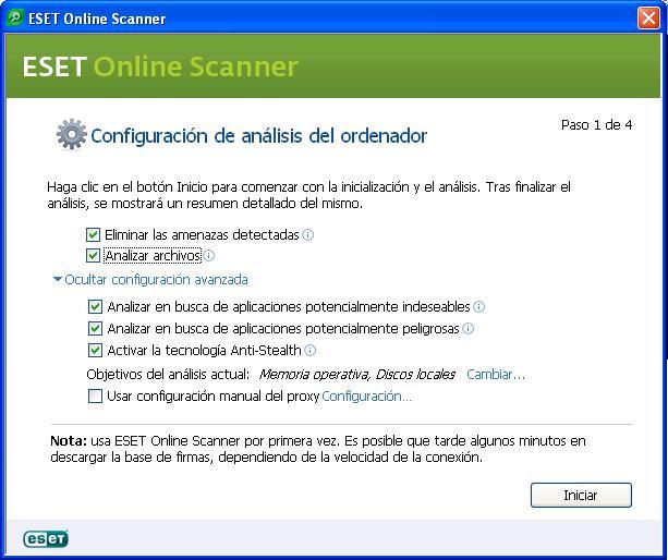 Pantalla configuración Eset OnLine Scanner