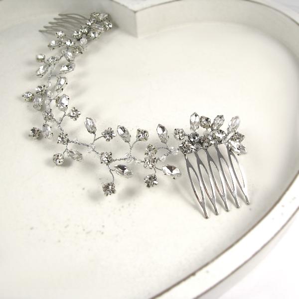 Ślubne akcesoria do włosów - gałązka z kryształkami