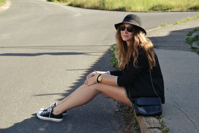 outfit ootd hm zara mango hat converse