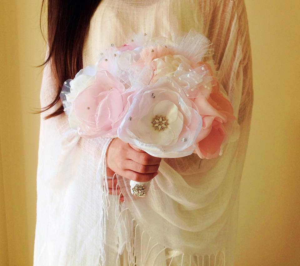 bouquet noiva tule organza cetim