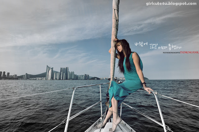1 Kim Ha Yul on a Sailboat-very cute asian girl-girlcute4u.blogspot.com