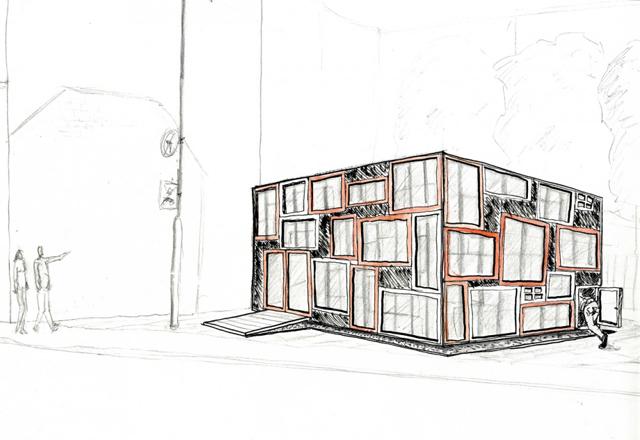 Centro de exposições construído de material de demolição