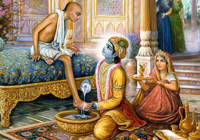 krishna washes sudama's feet
