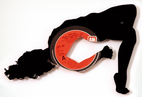 Discos de Vynil, Vinilo, Acetatos, Música, reciclar discos, Siluetas, Vinilos, mujer