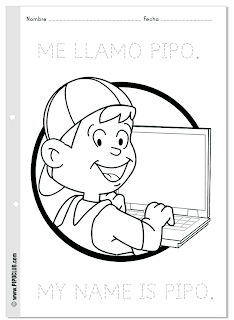 Colorea: Me llamo Pipo | Coloring: My name is Pipo