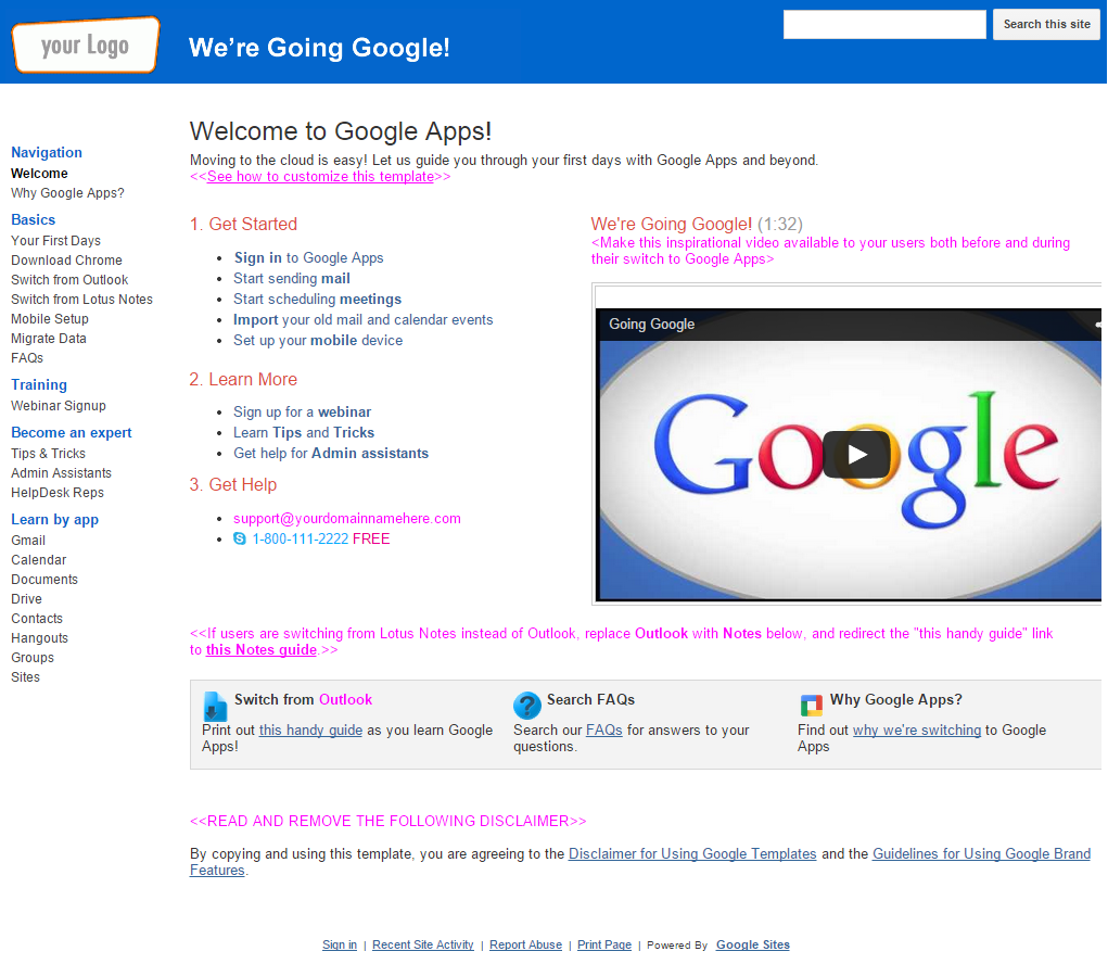 google website template ideas free google website