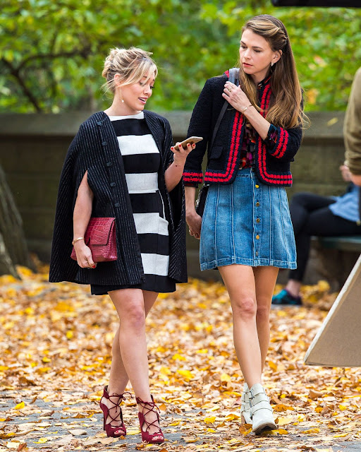 Actress, Singer @ Hilary Duff and Sutton Foster on the Set of 'Younger' in New York City