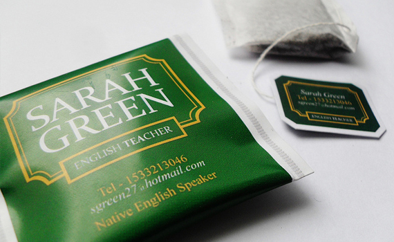 Sarah Green's tea bag card