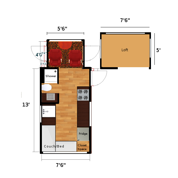 Tiny Motor House Motor Home RV Floor Plan