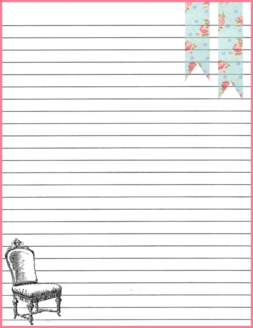 Lined writing paper with border