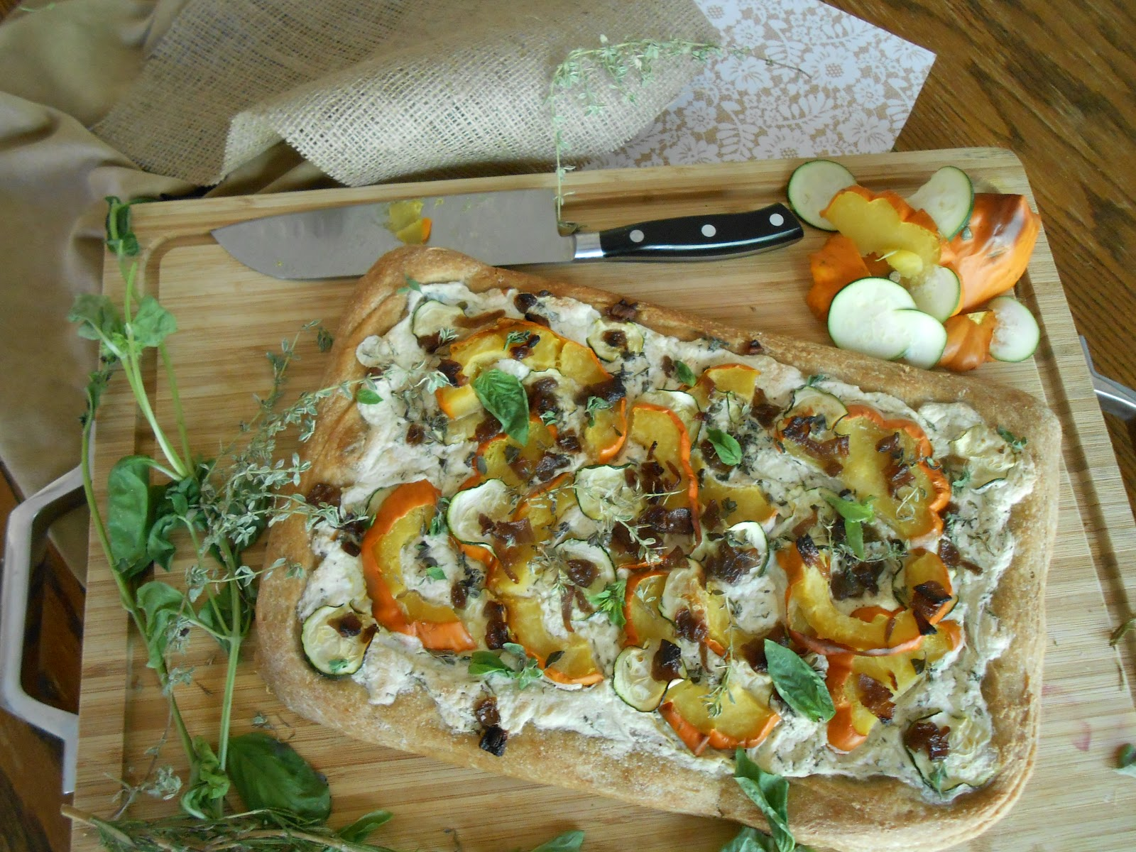 Whole wheat dough. Fresh vibrant summer squash. Herbed tofu ricotta.