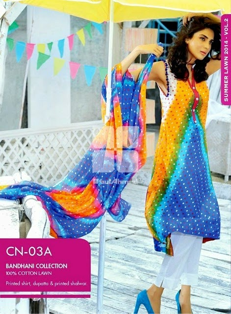 Gul Ahmed Chunri Summer Dresses 2014