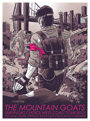The Mountain Goats Survivors Choice 2012 West Coast Tour Concert Poster 2 by Rober Wilson IV